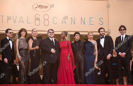 Jury members Ethan Coen, Sophie Marceau, Rossy de Palma, Guillermo del Toro, Rokia Traore, Xavier Dolan, Sienna Miller, Jake Gyllenhaal and Joel Coen arrive for the opening ceremony and the screening of the film La Tete Haute (Standing Tall) at the 68th international film festival, Cannes, southern France