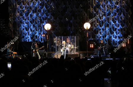 Chrissie Hynde, Martin Chambers, Nick Wilkinson, James Walbourne and Eric Heywood with The Pretenders perform during the Stevie Nicks: 24 Karat Gold Tour at Philips Arena, in Atlanta