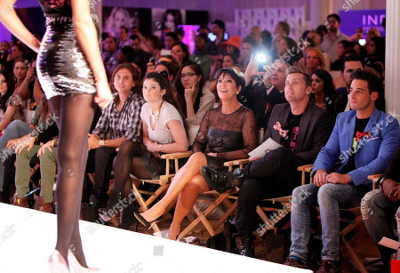 Kylie Jenner, Kris Jenner, Lance Bass and Michael Turchin watch the Just Dance 4 Fashion Show, in New York