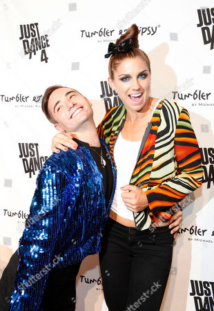 Designer Michael Kuluva and Olympic gold medalist Alex Morgan are seen at the Just Dance 4 Fashion Show, in New York