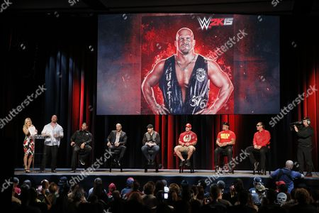 Stock Image of WWE broadcaster Renee Young, WWE Hall of Famer Stone Cold Steve Austin speaks with WWE Superstars Roman Reigns, Cesaro, Sheamus, WWE 2K15 cover Superstar John Cena as well as WWE Hall of Famer Hulk Hogan and iconic competitor Sting, about WWE 2K15 at the SummerSlam Confidential Panel at Club Nokia, on in Los Angeles
