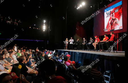 WWE Hall of Famer Stone Cold Steve Austin speaks with WWE Superstars Roman Reigns, Cesaro, Sheamus, WWE 2K15 cover Superstar John Cena as well as WWE Hall of Famer Hulk Hogan and iconic competitor Sting, about WWE 2K15 at the SummerSlam Confidential Panel at Club Nokia, on in Los Angeles