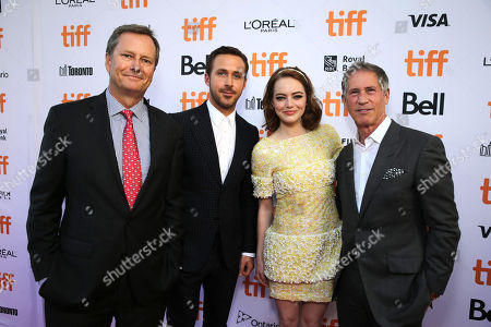 """Michael Burns, Vice President of Lionsgate, Ryan Gosling, Emma Stone and Jon Feltheimer, Chief Executive Officer of Lionsgate, seen at Summit Entertainment's """"La La Land"""" premiere at the 2016 Toronto International Film Festival, in Toronto"""