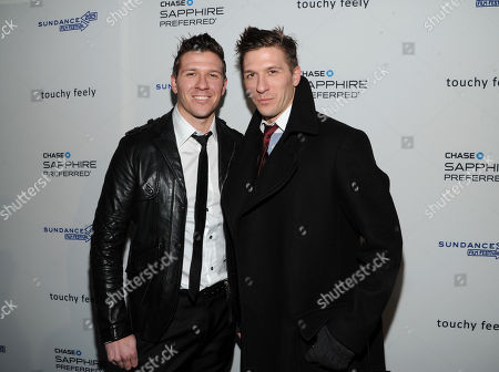 """Daniel Koch, left, and Derek Koch attend the """"Touchy Feely"""" premiere party at The Shop during the Sundance Film Festival on in Park City, Utah"""