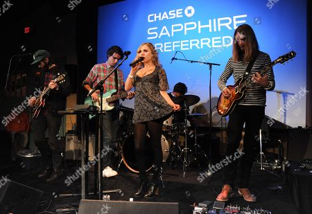 """Stock Photo of The group JJAMZ, from left, Alex Greenwald, Michael Reunion, Z Berg, Jason Boesel, and James Valentine perform at the """"Touchy Feely"""" premiere party at The Shop during the Sundance Film Festival on in Park City, Utah"""