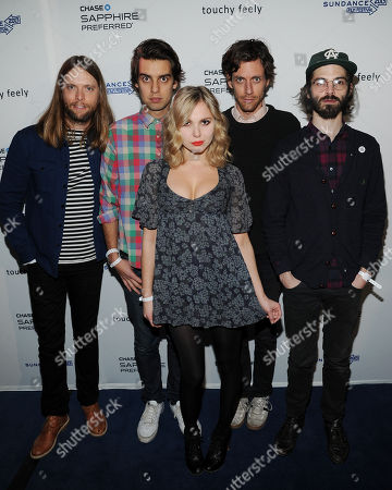 "Stock Picture of Musicians, from left, James Valentine, Michael Reunion, Z Berg, Jason Boesel and Alex Greenwald of the group JJAMZ attend the ""Touchy Feely"" premiere party at The Shop during the Sundance Film Festival on in Park City, Utah"