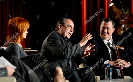 From left, actors Swoosie Kurtz, Louis Mustillo and Billy Gardell participate in the Academy of Television Arts & Sciences Presents An Evening Honoring James Burrows panel,, at the Leonard H. Goldenson Theater, in North Hollywood, Calif
