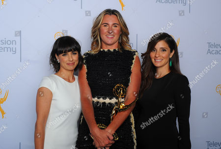 Constance Zimmer, from left, Nancy Dubuc with her award, and Shiri Appleby pose for a portrait at the Television Academy's Creative Arts Emmy Awards at Microsoft Theater, in Los Angeles
