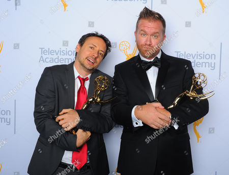 "Stock Picture of Kyle Dunnigan, left, and Jim Roach, winners of the award for outstanding original music and lyrics for ""Inside Amy Schumer"", pose for a portrait at the Television Academy's Creative Arts Emmy Awards at Microsoft Theater, in Los Angeles"