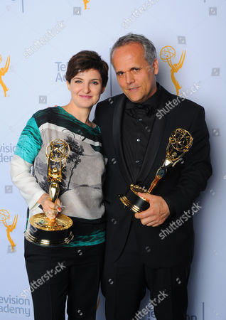 Mathilde Bonnefoy, left, and Dirk Wilutzky pose for a portrait at the Television Academy's Creative Arts Emmy Awards at Microsoft Theater, in Los Angeles