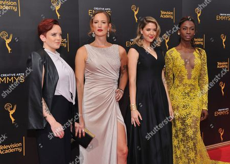 Stock Picture of Jen Richards, from left, Kate Fischer, Laura Zak, and Angelica Ross arrive at night two of the Television Academy's 2016 Creative Arts Emmy Awards at the Microsoft Theater on in Los Angeles