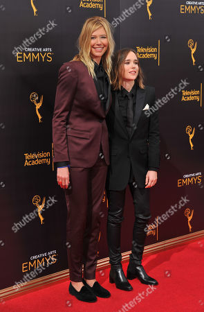 Samantha Thomas, left, and Ellen Page arrive at night two of the Television Academy's 2016 Creative Arts Emmy Awards at the Microsoft Theater on in Los Angeles