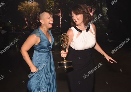 Ashley Ward, left, and Kelly Calligan at the Governors Ball for night one of the Television Academy's 2016 Creative Arts Emmy Awards at the Microsoft Theater on in Los Angeles