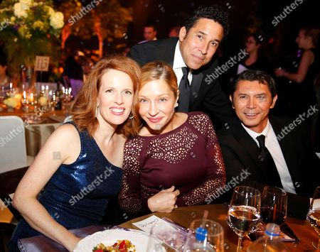 Ursula Whittaker, from left, Yvonne Boismier Phillips, Oscar Nunez and Lou Diamond Phillips attend the Governors Ball during night two of the Television Academy's 2016 Creative Arts Emmy Awards at the Microsoft Theater on in Los Angeles