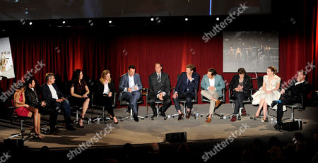 """MARCH 4: (L-R) Ashley Madekwe, Josh Bowman, Henry Czerny, Madeleine Stowe, Emily VanCamp, Mark Steines, Mike Kelley, Gabriel Mann, Nick Wechsler, Connor Paola, Christa B. Allen and Barry Sloane participate in the Academy of Television Arts & Sciences Presents An Evening With """"Revenge"""" panel at the Leonard H. Goldenson Theater at the Academy of Television Arts & Sciences on in North Hollywood, California"""