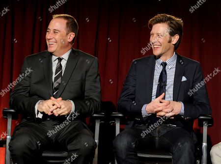 """MARCH 4: (L-R) Mike Kelley and Gabriel Mann participate in the Academy of Television Arts & Sciences Presents An Evening With """"Revenge"""" panel at the Leonard H. Goldenson Theater at the Academy of Television Arts & Sciences on in North Hollywood, California"""