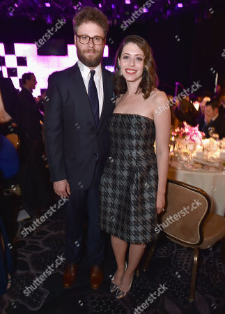 """Seth Rogen and Lauren Miller attend the 24th annual Alzheimer's Association """"A Night at Sardi's"""" at the Beverly Hilton hotel, in Beverly Hills, Calif"""