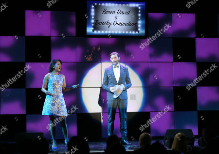 "Karen David, left, and Timothy Omundson perform â?œIâ?™ll Knowâ?? from the musical â?œGuys and Dollsâ?? at the 24th annual Alzheimer's Association ""A Night at Sardi's"" at the Beverly Hilton hotel, in Beverly Hills, Calif"