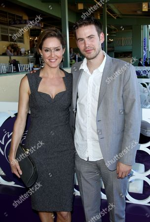 Erinn Hayes and Zach Cregger are seen on Day 2 of the Breeders' Cup World Championships, in Arcadia, Calif