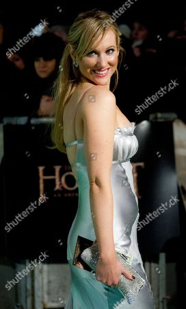 Rebecca Fernando arrives on the red carpet at a Leicester Square cinema for the Royal Performance of The Hobbit: An Unexpected Journey