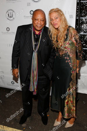 """Quincy Jones and The Jazz Foundation of America Vice Chairman Wendy Oxenhorn attends the 13th annual """"A Great Night in Harlem"""" gala concert, presented by The Jazz Foundation of America to benefit The Jazz Musicians Emergency Fund, at The Apollo Theater, in New York. This year's Lifetime Achievement Award honoree is musician Herbie Hancock"""