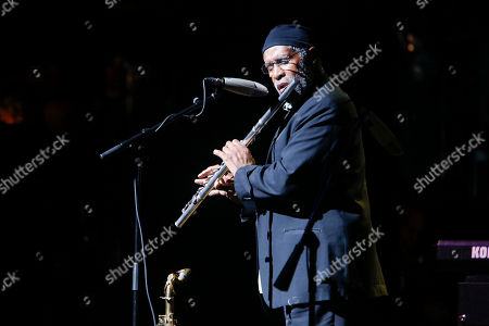 """Stock Photo of Bennie Maupin performs at the 13th annual """"A Great Night in Harlem"""" gala concert, presented by The Jazz Foundation of America to benefit The Jazz Musicians Emergency Fund, at The Apollo Theater, in New York. This year's Lifetime Achievement Award honoree is musician Herbie Hancock"""