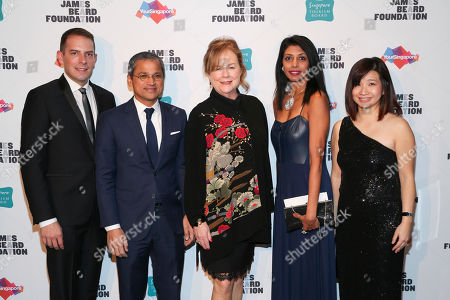 JBF Vice President Kristopher Moon, His Excellency Burhan Gafoor, Ambassador and Permanent Representative of Singapore to the United Nations and JBF President Susan Ungaro, Director, Attractions, Dining and Retail, Singapore Tourism Board, Ranita Sundra, Singapore Tourism Board Regional Director, Americas, Kershing Goh seen at The JBF Gala: Singapore's Culinary Crossroads, presented by the Singapore Tourism Board at the Rainbow Room on in New York