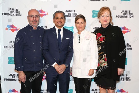 Chef Alfred Portale, His Excellency Burhan Gafoor, Ambassador and Permanent Representative of Singapore to the United Nations, Chef Cat Cora, JBF President Susan Ungaro seen at The JBF Gala: Singapore's Culinary Crossroads, presented by the Singapore Tourism Board at the Rainbow Room on in New York