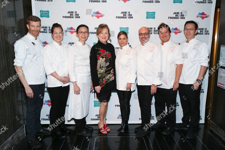 Chef Robert Aikens, Chef Kyung Kim, Chef Cheryl Koh, JBF President Susan Ungaro, Chef Cat Cora, Chef Alfred Portale, Chef LG Han, Chef Yew Eng Tong seen at The JBF Gala: Singapore's Culinary Crossroads, presented by the Singapore Tourism Board at the Rainbow Room on in New York