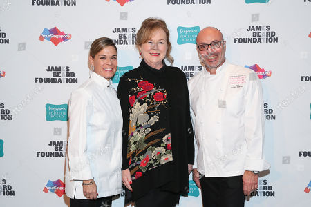 Stock Photo of Chef Cat Cora, JBF President Susan Ungaro, Chef Alfred Portale seen at The JBF Gala: Singapore's Culinary Crossroads, presented by the Singapore Tourism Board at the Rainbow Room on in New York