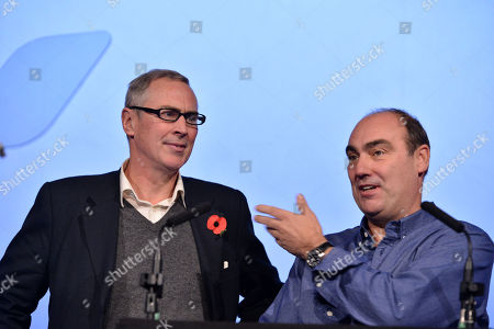 Stock Photo of Christopher Figg, producer and Oliver Parker, director, at the National Youth Film Festival Awards at the Vue Cinema, Leicester Square in London on Friday, Nov. 2013