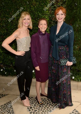 From left, Beth Behrs, Gail Abarbanel, director of the Rape Treatment Center, and Christina Hendricks stand together for a photo at The Rape Foundation Annual Brunch, in Beverly Hills, California