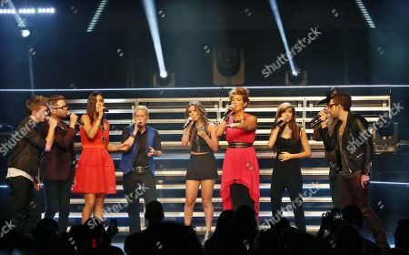 Stock Photo of Josh Kaufman, Jake Worthington, Christina Grimmie, Kristen Merlin (Season 6 Top 4 respectively) Jake Barker (A season 6 favorite), Tessanne Chin, Jacquie Lee and Will Champlin (Season 5 Top 3, respectively) and Dia Frampton, the Season 1 runner up performing as part of The Voice Tour at Cobb Energy Centre, in Atlanta