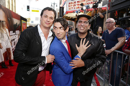 Stock Photo of Producer David Alpert, Screenwriter Max Landis and Director Nima Nourizadeh seen at The World Premiere of Lionsgate's 'American Ultra' at Ace Hotel, in Los Angeles, CA