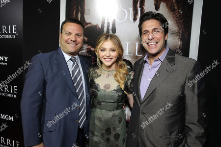 Producer Kevin Misher, Chloe Grace Moretz and MGM's Jonathan Glickman seen at The World Premiere of MGM and Screen Gems' 'Carrie,' on Monday, Oct, 7, 2013 in Hollywood