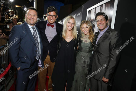 Producer Kevin Misher, Screenplay Writer Roberto Aguirre-Sacasa, MGM's Cassidy Lange, Chloe Grace Moretz and MGM's Jonathan Glickman seen at The World Premiere of MGM and Screen Gems' 'Carrie,' on Monday, Oct, 7, 2013 in Hollywood