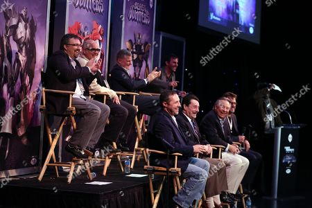 "Panelists speak at The Hub's ""Transformers Prime Beast Hunters"" World Premiere Screening Event on in Universal City, Calf. The panelists include, top row from left, David Hartman, supervising director/art producer, Duane Capizzi, co-executive producer, Stephen Davis, Hasbro Studios president, Robert Orci, executive producer, and bottom row from left, Jeff Kline, executive producer, Peter Cullen, voice of Optimus Prime, Frank Welker, voice of Megatron, and Steve Blum, voice of Starscream"