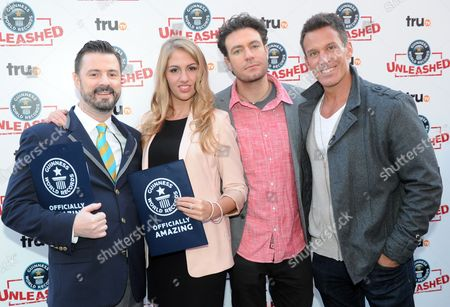 TruTV personalities, left to right, Stuart Claxton, Liz Smith, Zach Selwyn and Dan Cortese are seen at the truTV & GUINNESS WORLD RECORDS event celebrating the premiere of the Guinness World Records Unleashed series, in New York's Times Square