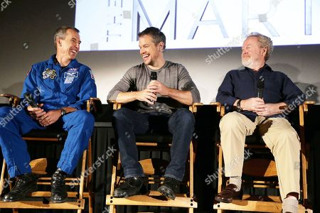 Astronaut Drew Feustel, Matt Damon and Director Ridley Scott at the Twentieth Century Fox 'The Martian' Trailer Launch Event at United Artists La Canada Theater, in La Canada Flintridge, CA