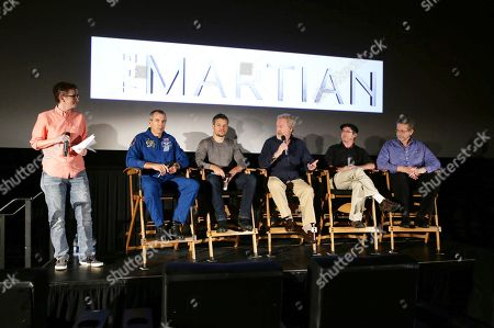 Astronaut Drew Feustel, Matt Damon, Director Ridley Scott, Andy Weir and Dr. Jim Green at the Twentieth Century Fox 'The Martian' Trailer Launch Event at United Artists La Canada Theater, in La Canada Flintridge, CA
