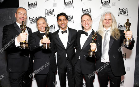 Animation Director Erik-Jan De Boer, Director Ang Lee, Suraj Sharma, film music composer Mychael Danna and Cinematographer Claudio Miranda attend the Twentieth Century Fox And Fox Searchlight Pictures Academy Awards Nominees Party at Lure on in Los Angeles