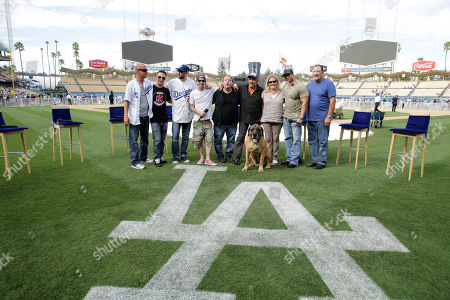 Director David Mickey Evans, Victor DiMattia, Grant Gelt, Chauncey Leopardi, Shane Obedzinski, Daniel Zacapa, Producer Cathleen Summers, Marty York, Art LaFleur and 'The Best' seen at Twentieth Century Fox Home Entertainment celebrating the 20th anniversary of 'The Sandlot' at Dodger Stadium, on Sunday, Sep, 1, 2013 in Los Angeles