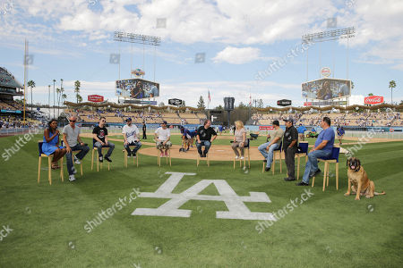 Director David Mickey Evans, Victor DiMattia, Grant Gelt, Chauncey Leopardi, Shane Obedzinski, Producer Cathleen Summers, Marty York, Daniel Zacapa, Art LaFleur and 'The Best' seen at Twentieth Century Fox Home Entertainment celebrating the 20th anniversary of 'The Sandlot' at Dodger Stadium, on Sunday, Sep, 1, 2013 in Los Angeles