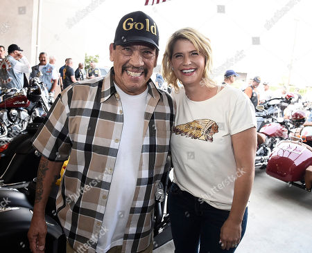 Stock Photo of Actor Danny Trejo, left, and actress Kristy Swanson at the kickoff for the Veterans Charity Ride to Sturgis on in Los Angeles. The Veterans Charity Ride is a non-profit organization founded by Dave Frey and Robert Manciero to support veterans through motorcycle therapy to help them assimilate back into civilian life and as an outlet for post-traumatic stress