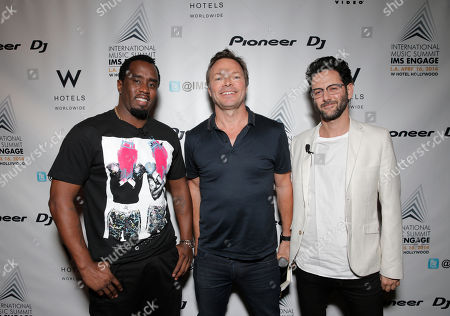 "From left, Sean ""Diddy"" Combs, Pete Tong and Guy Gerber arrive at the International Music Summit - IMS Engage at the W Hollywood,, in Los Angeles"
