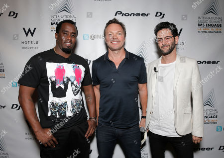 "From left, Sean ""Diddy"" Combs, Pete Tong and Guy Gerber arrive at the International Music Summit - IMS Engage at W Hollywood,, in Los Angeles"