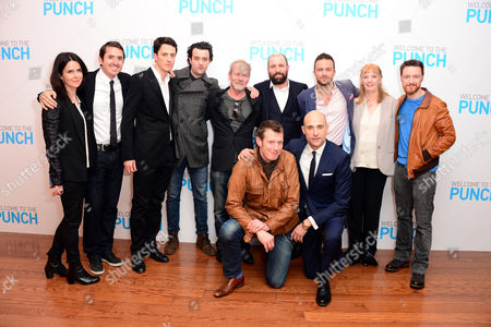 Cast and crew including Liza Marshall (L) (from fourth left) Danny Mays, Peter Mullan, Johnny Harris, director Eran Creevy, James McAvoy (R) Jason Flemyng and Mark Strong are seen at Welcome to the punch Premier, on Tuesday, March, 5th, 2013 in London