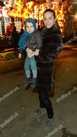 Saskia Boxford and son River are seen at Winter Wonderland at Hyde Park, London on Thursday in London