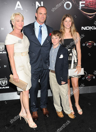 """Actor Christopher Meloni with his wife Sherman Williams and their children Dante and Sophia attend the """"Man Of Steel"""" world premiere at Alice Tully Hall on in New York"""
