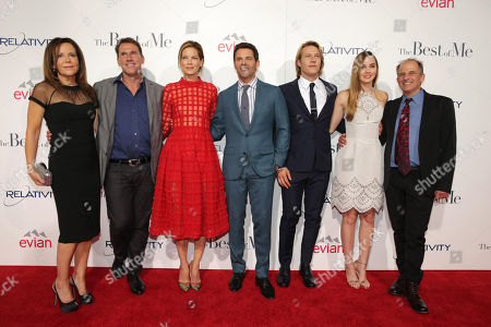 """Producer Denise Di Novi, Writer/Producer Nicholas Sparks, Michelle Monaghan, James Marsden, Luke Bracey, Liana Liberato and Director Michael Hoffman attend the World Premiere of Relativity Studios' upcoming release """"The Best of Me"""" held at Regal Cinemas L.A. Live,, in Los Angeles"""